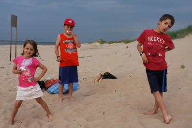 3 - Jenna, Andrew, Ryan on Lakeside Beach, PEI eating marshmallows