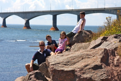 6 - Mike, Ryan, Jenna, Andrew beside Confederation Bridge, PEI